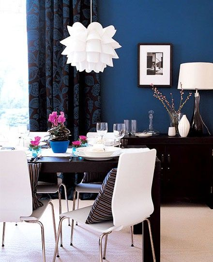 Blue Dining Rooms: Dining Rooms, Interior, Ideas, Blue Walls, Colors, Wall Color, Living Room, Accent Wall