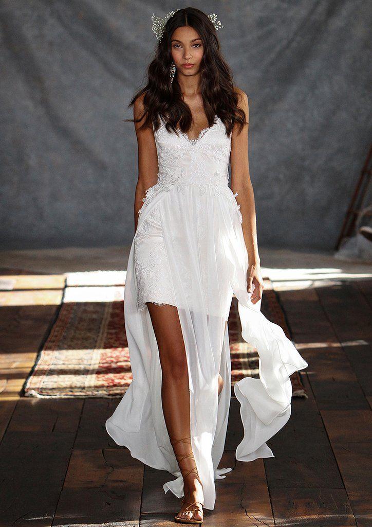 Casablanca Wedding Dress by Claire Pettibone #ClairePettibone #weddingdress #bridalgown #shortweddingdress #flowy #slits #beachwedding #summerwedding #simple #sale #lace #vneck #designer #openleg