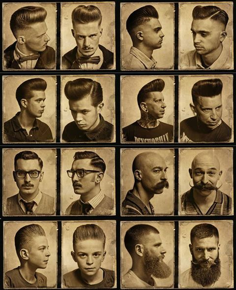 Greaser hairstyles, beards, and mustaches.
