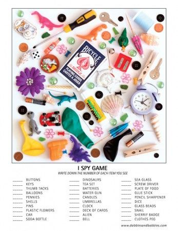 "DIY search and find ""I Spy"" game that will keep kids busy for hours. Great for camp, road trips and rainy days. Free printable included."