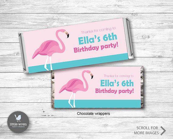 Flamingo Party Invitation flamingo Birthday Ideas Chocolate Wrapper Candy wrapper hersheys Aldi party favor favour