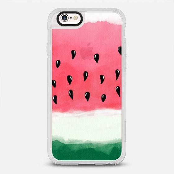 Hand painted summer watercolor watermelon - protective iPhone 6 phone case in Clear and Clear by Girly Trend | It's watermelon time! >>> https://www.casetify.com/product/modern-hand-painted-summer-watercolor-red-green-watermelon-by-girly-trend/iphone6s/new-standard-case#/177607 | @casetify