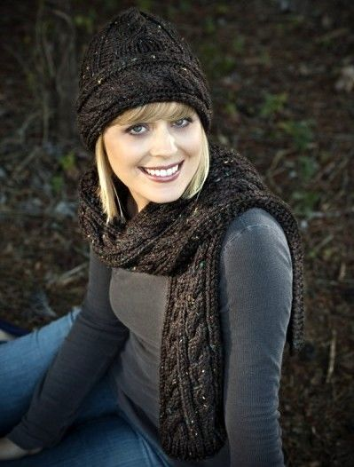 "tweed-hat-and-scarf.jpg.  Free cable hat and scarf pattern.  Noble Knits. ""Big Cables Hat & Scarf"""