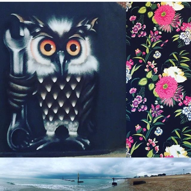 Photomashup Southsea, owl spray-can streetart, Flo's floral wallpaper, Southsea beach photos by Lizzie Reakes