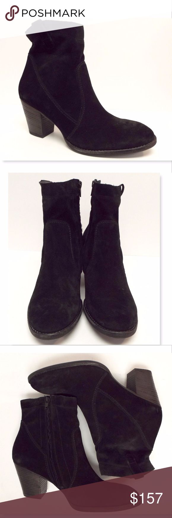 New PAUL GREEN Black Ankle Boots 7.5UK/10US PAUL GREEN 100% Authentic!! Black Waxed Suede Leather Flex Ankle Boots Size  7 1/2 Eur or 10 Medium New without box All actual photos of the item. Paul Green Shoes Ankle Boots & Booties