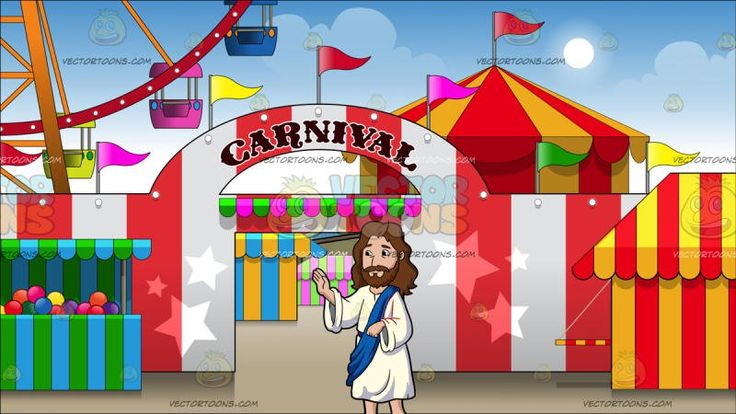 Jesus Christ Giving His Blessings At Exterior Of A Carnival:  Cartoon image of Jesus Christ with long brown hair beard and mustache wearing a white robe and brown sandals as well as a blue sash looks to his right as he smiles with lips closed raising his right hand to bless the people. Set in red and white striped wall and entrance to a small carnival. a ferris wheel is in visible above the wall as well as a red and yellow striped tent .  #religion #religious #church #prayer #vectortoons…