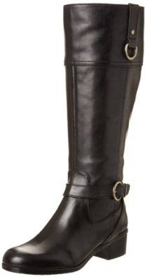 Bandolino Womens Chamber Wide Calf Riding Boot Now for 89.99. Leather. Manmade sole. Shaft measures approximately 15.5 from arch. Heel measures approximately 1.75. Platform measures approximately 0.25. Boot opening measures approximately 16 around. A buckled pull-on loop adds functionality and fashion in this stately leather riding boot.. The Boots come in Wide Calf