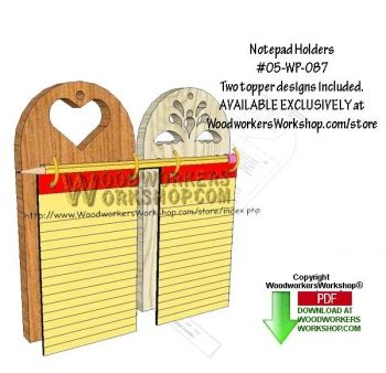 New plan! 05-WP-087 - 2 Notepad Holders Downloadable Scrollsaw Woodworking Pattern PDF