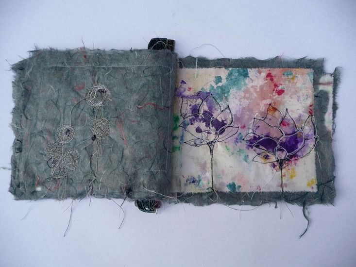 Willy Schut: book:'I never promised you a rose garden' Textile book with machine embroidery