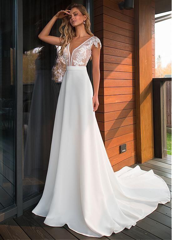 Magbridal Elegant Tulle & Organza Satin V-neck Neckline A-line Wedding Dresses With Lace Appliques & Belt