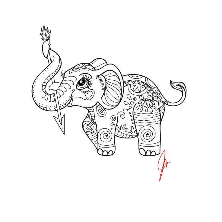 mandala elephant coloring pages easy - photo#12