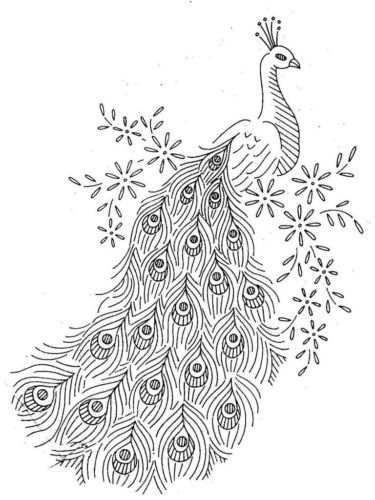 Vintage-Hand-Embroidery-PATTERN-Alice-Brook-7297-Peacocks-for-Linens-Scarfs-etc