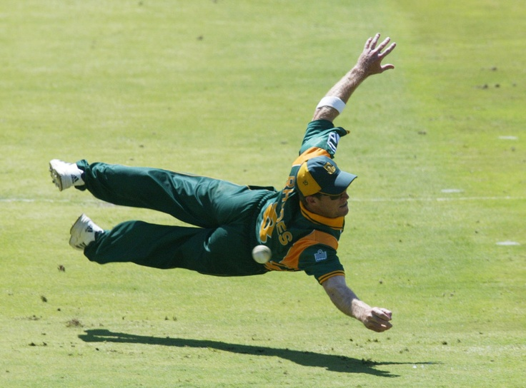 JONTYMAN: South African cricketer Jonty Rhodes doing what he is best at: Flying.