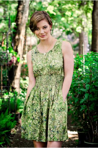 Garden Beauty Green Batik Dress | Knee length dress | Indonesia | shopgofish.com