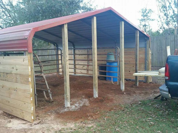 Another view of our horse shelter that we are building out of an existing 18x20 carport. I will be using this as a foaling stall. We sunk 4x4's in the front with the 2 in the middle spaced for a 4 foot door.