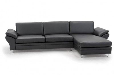 multibygg couch 3 seats chaiselong black leather danish design hjort knudsen. Black Bedroom Furniture Sets. Home Design Ideas