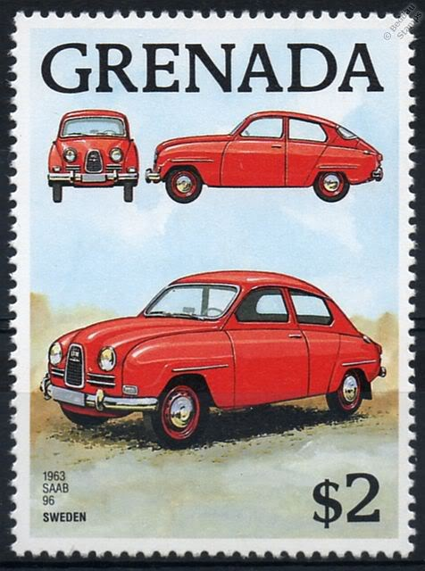 1963 SAAB 96 car stamp issued by Grenada on 1st June 1988to commemorate the first 100 Years of the Automobile.