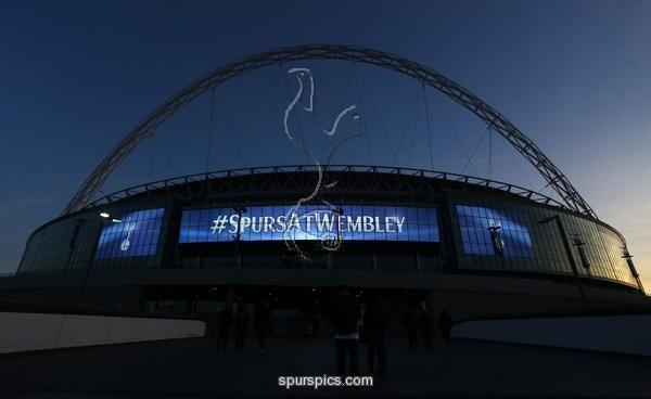 LONDON, ENGLAND - NOVEMBER 02: General view of Tottenham Hotspur branding on the stadium before the UEFA Champions League match between Tottenham Hotspur FC and Bayer 04 Leverkusen at Wembley Stadium on November 2, 2016 in London, England