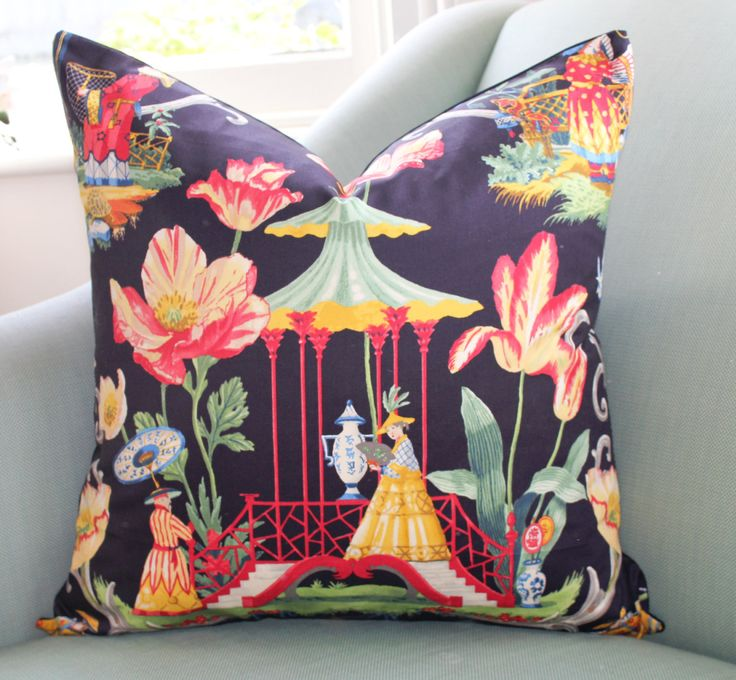 Chinoiserie Dream Black Pillow Cover by Aurelia6311 on Etsy https://www.etsy.com/listing/466939277/chinoiserie-dream-black-pillow-cover