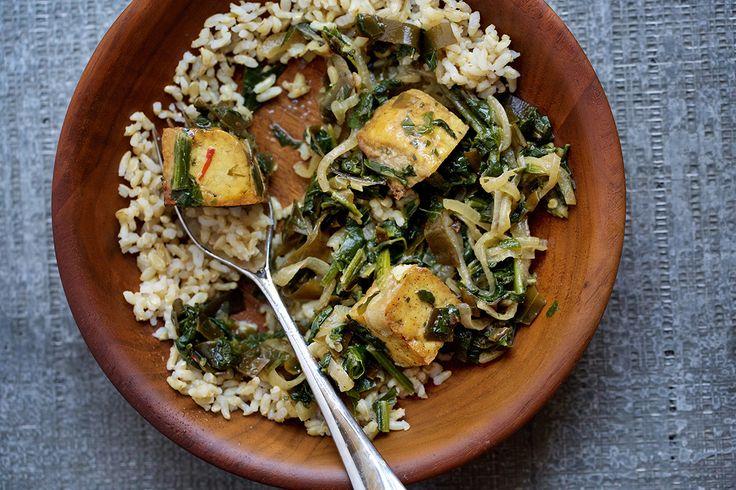 Saag tofu with kombu