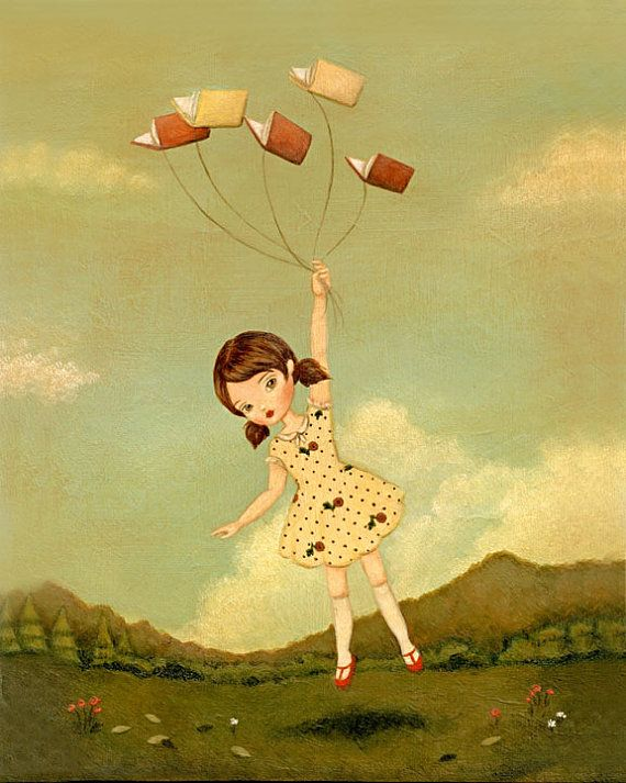 Books Can Take You Anywhere Print 8x10 - Pale Red, Yellow, Cream, Children's Art, Girl, Flying, Cute, Book Lover, Bookworm, Reading, Story