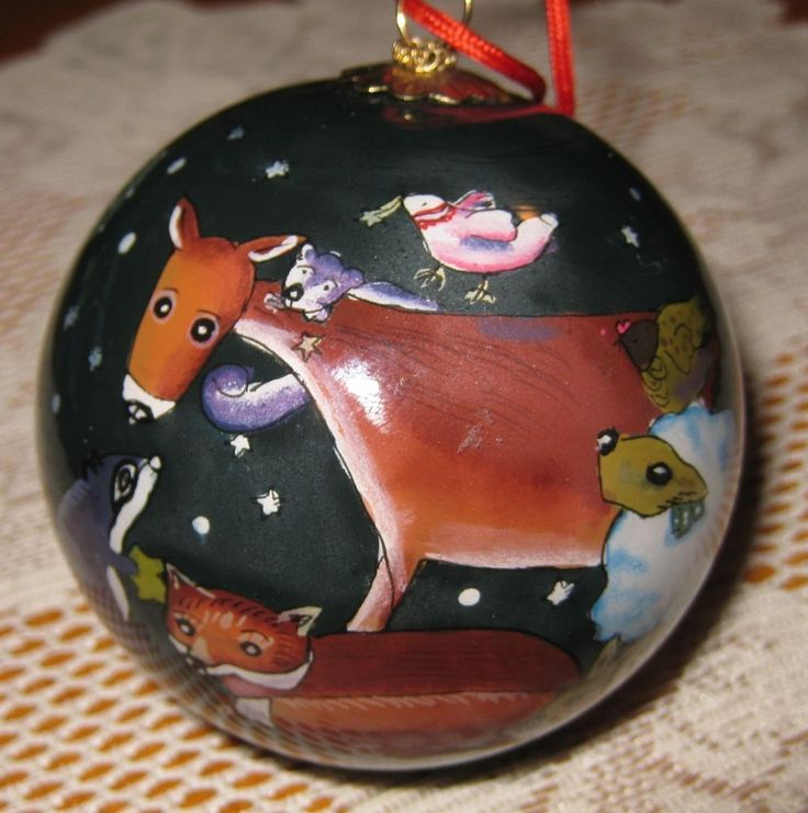 Li Bien Ornament by Viv Eisner Hess- 1996- Reverse Glass Painted -Animals Theme