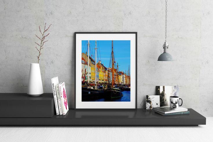 Travel Decor, Hygge Photography, Nyhavn, Travel Photography, Denmark, Hygge Art, Copenhagen Photo, Denmark Harbor, Travel Art, Boat Photo by FrenchPressEncaustic on Etsy