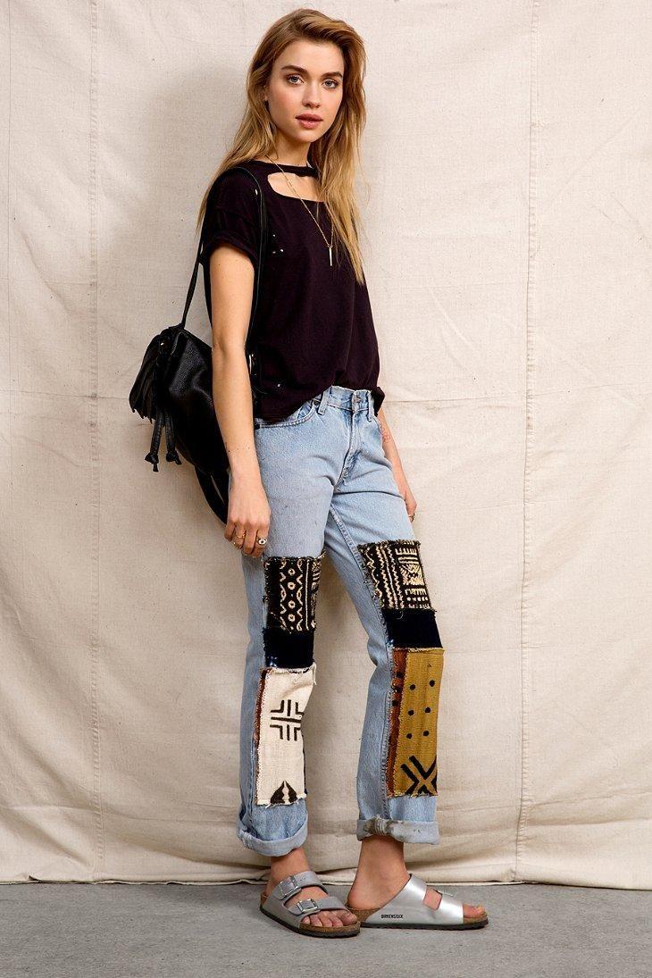 Urban Renewal Mud Cloth Patchwork Jean #urbanoutfitters