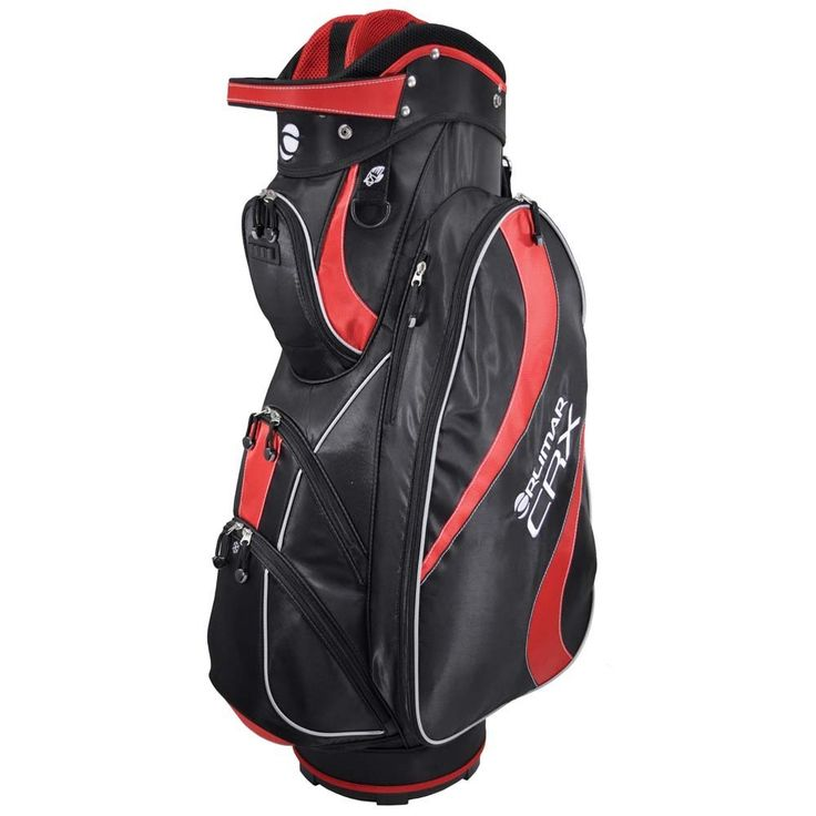 Offering integrated carry handles these mens CRX golf cart bags by Orlimar also feature a rain hood and padded shoulder strap