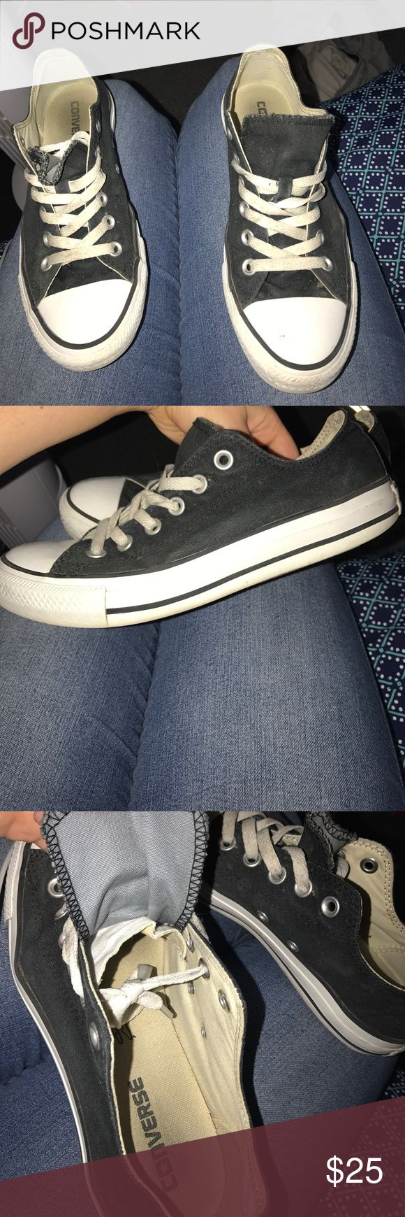 Black low top converse Black low top converse. Worn but good condition. I will clean the edges before shipping. They could use some new laces which would really make them look good. These are a size 8 women's but the tag was cut out. Converse Shoes