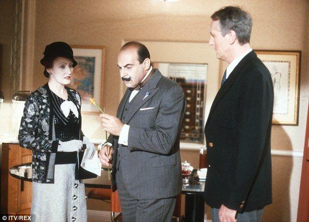 Watching the detective: Pauline Moran as Miss Lemon, David Suchet as Hercule Poirot and Hugh Fraser as Captain Hastings seen in episode Yellow Iris in 1993