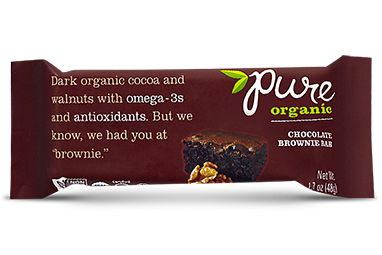 Chocolate Brownie Bar by Pure Organic. This company has several fruit and nut bars that are free of milk, gluten, egg, and soy.