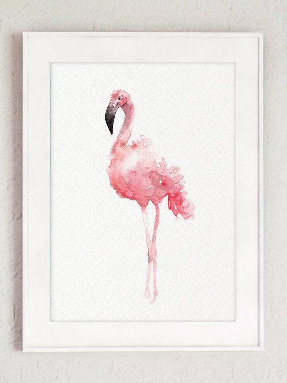 Flamant rose Set 3 estampes flamants oeuvre par ColorWatercolor