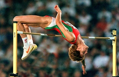 High jump world record holder Stefka Kostadinova.  Record: 6 feet, 10¼ inches...amazing.