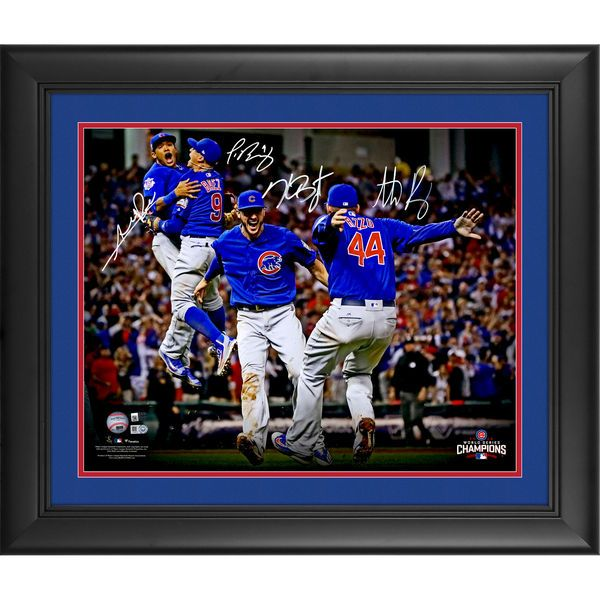 Javier Baez, Kris Bryant, Anthony Rizzo, Addison Russell Chicago Cubs Fanatics Authentic Framed Autographed 16'' x 20'' 2016 MLB World Series Champions World Series Celebration Photograph- Limited Edition of 500 - $1079.99