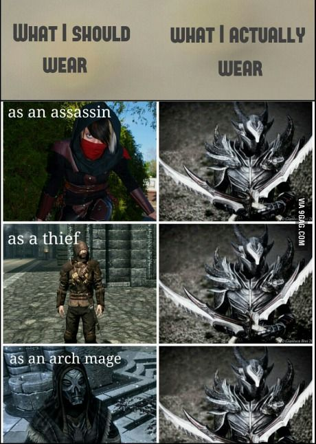 What I should wear, what I actually wear Skyrim; so true