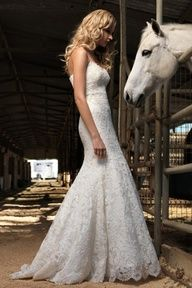 Beautiful Country Lace Wedding Dress@Kimberly Woodring  LOVE the white dress with the white horse!