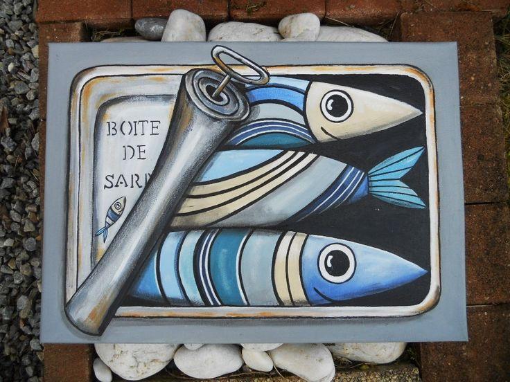 """Tableau """"Boîte à sardines"""" à l'acrylique : Peintures par les-toiles-de-mer-de-syl"""