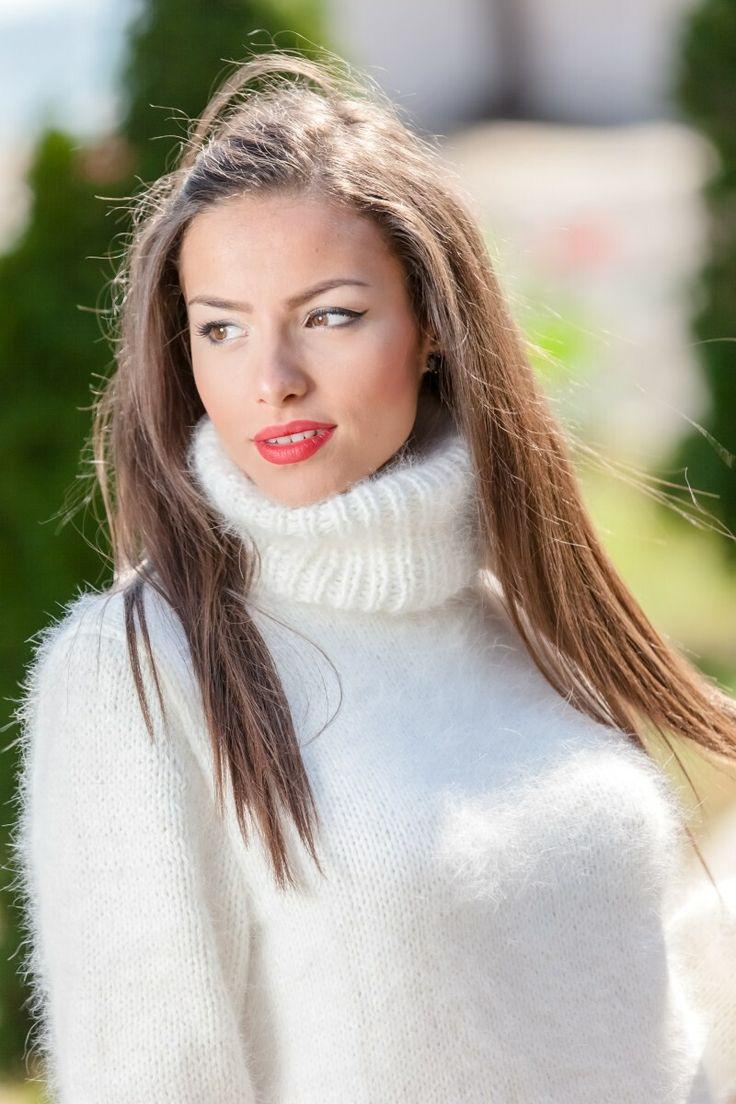 Akira Denim Hot Chocolate And Marshmallows Twist Back Fuzzy Sweater