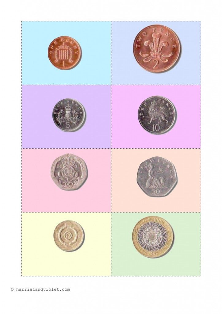 Coins Matching Activitiy - Coins with the amount in Pound and Pence £ & p - Harriet & Violet