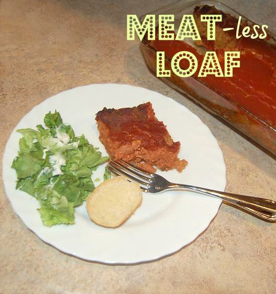 Meat-less Vegetarian Loaf - Made with common ingredients and is so good! Fooled my meat-eating relatives.  :)