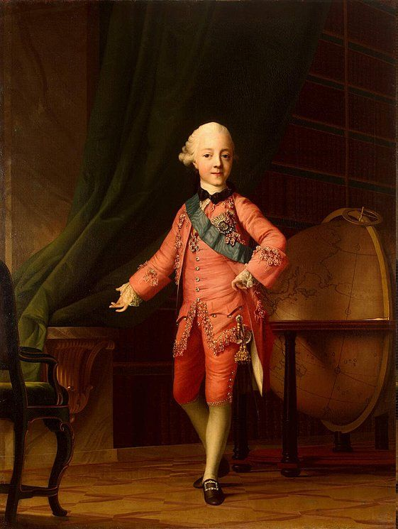 Portrait of Child Grand Prince Paul I Petrovich Romanov (1 Oct 1754-23 Mar 1801) Russia in the Classroom by Virgilius Erichsen in Denmark in 1766. Future Tsar Paul I Petrovich Romanov of Russia.