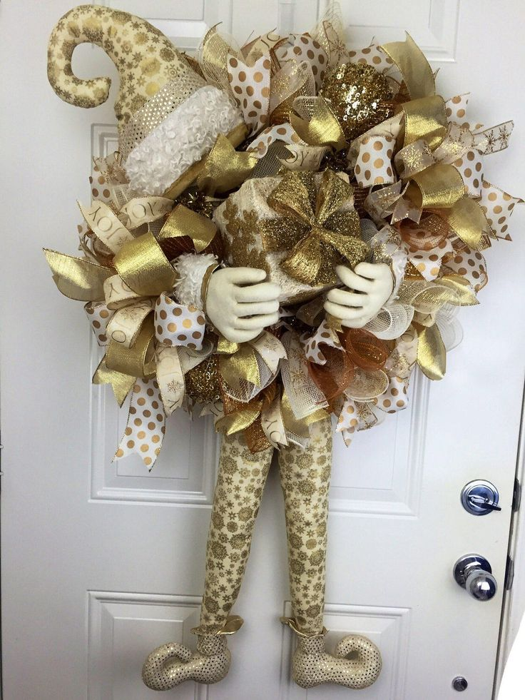 Gold And Cream Elf Christmas Wreath Christmas Deco Mesh