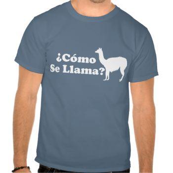 Como Se Llama. A funny Spanish wordplay design about llamas #como #se #llama #llamas #spanish #funny #wordplay #humor #humorous #parody #pun #punny #spoof #play #on #words