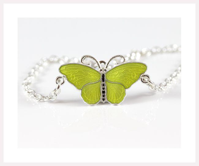 Enamel butterfly bracelet