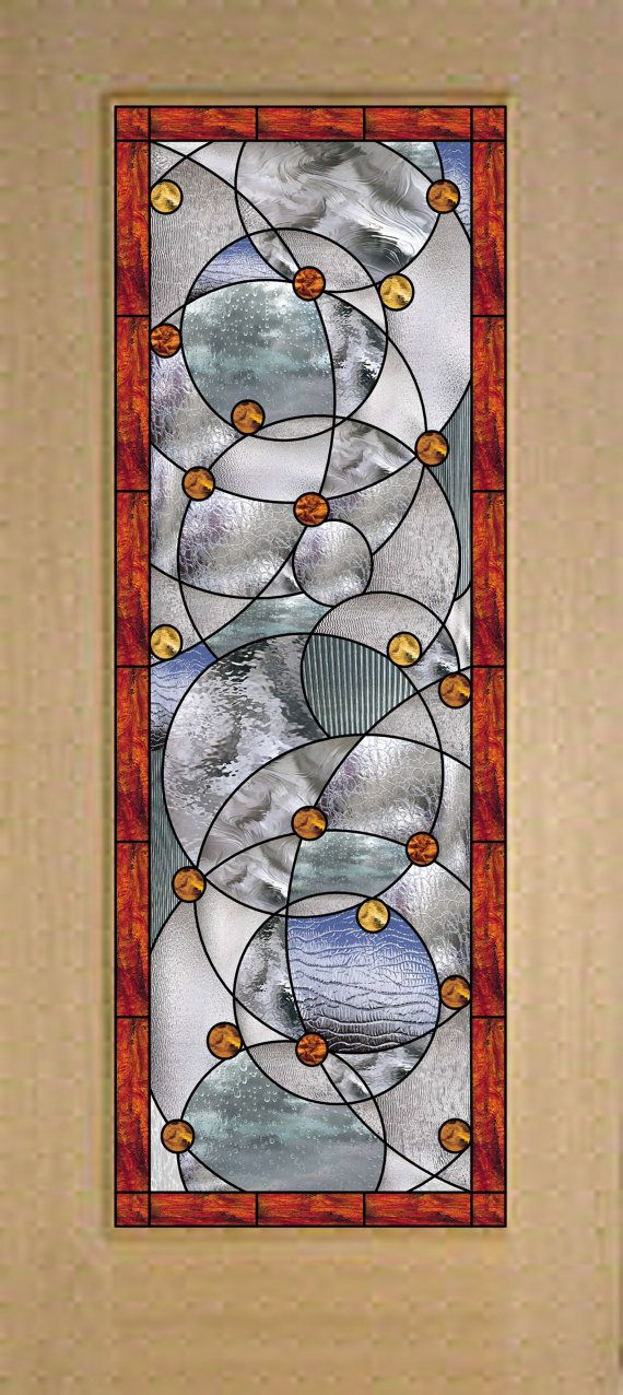 "Contemporary Stock sized Stained Glass ""Abstract Circles""  Door Sealed (triple paned) in Tempered Safelty Glass- We do custom!"