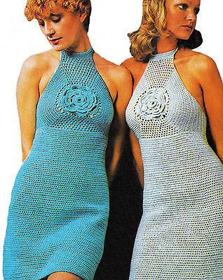 Reproduction CROCHET PATTERN Ladies Dress Halter Hipster Flower 8 ply Size 10-18
