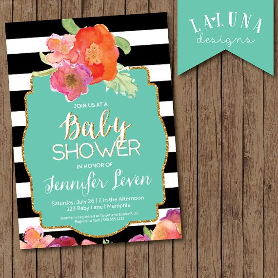 Baby Shower Invitation, Black and White Stripe, Floral Baby Shower, Striped Baby Shower Invitation, Glitter Baby Shower, DIY Printable