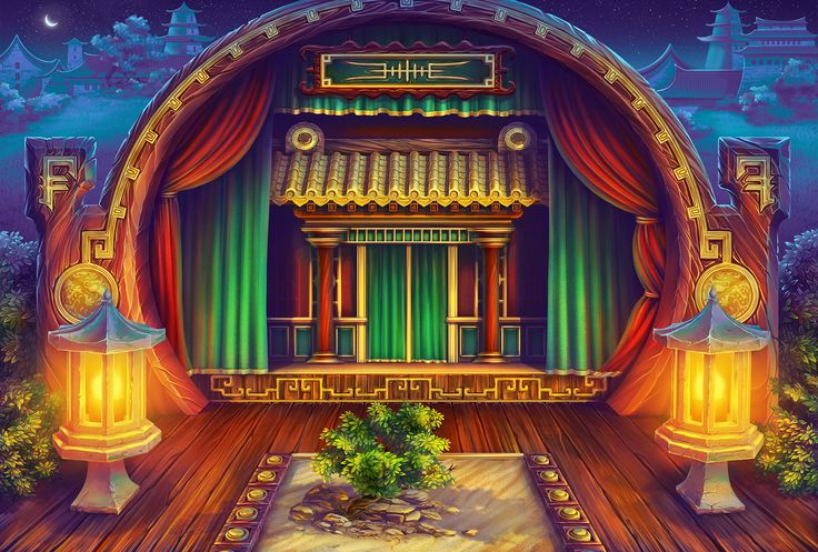 "Oriental background Graphic design of background for the game slot machine ""Face off"""