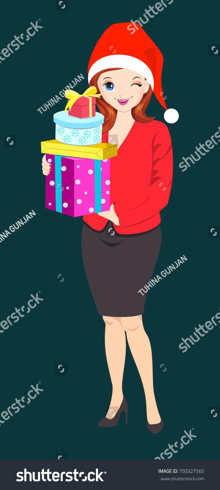 stock-vector-business-woman-celebrating-christmas-750327565.jpg (720×1600)